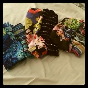Bundle of Two-Tone Floral Accent Scarves